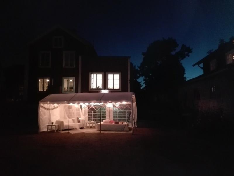 Bröllop Frägsta Hälsingegård-kvällsbelysning